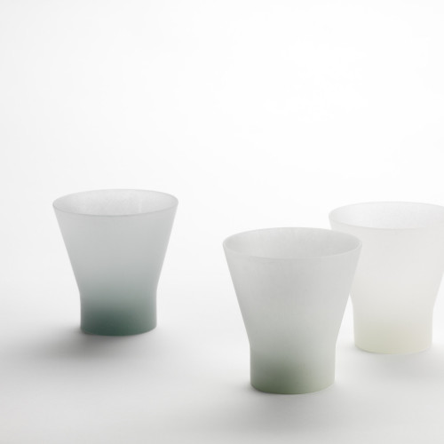 3 celadon glass cups by Andrea Walsh