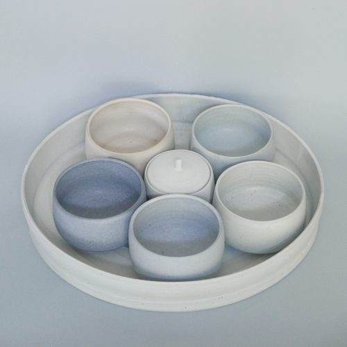 Carina Ciscato, Oval Tray with Five Bowls and a Lidded Jar at Joanna Bird Contemporary Collections