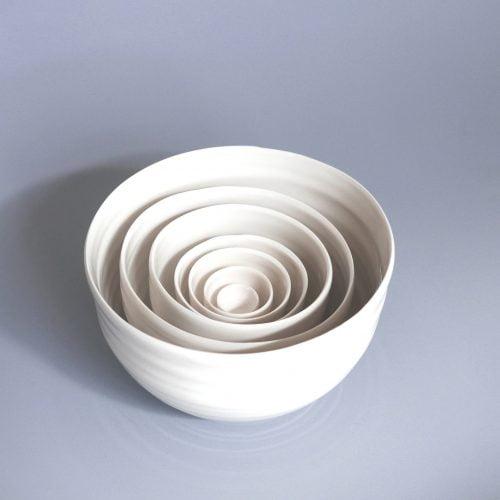 Carina Ciscato, Small Set of White Stacking Bowls at Joanna Bird Contemporary Collections