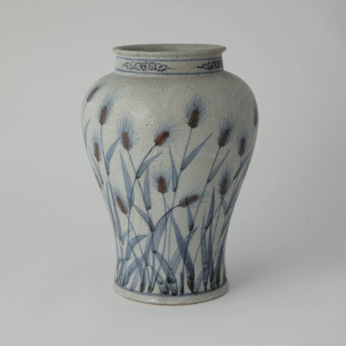 White Porcelain Pruns Vase with Barley Pattern Design Underglaze Cobalt Blue by Soon-Tak Ji at Joanna Bird Contemporary Collections
