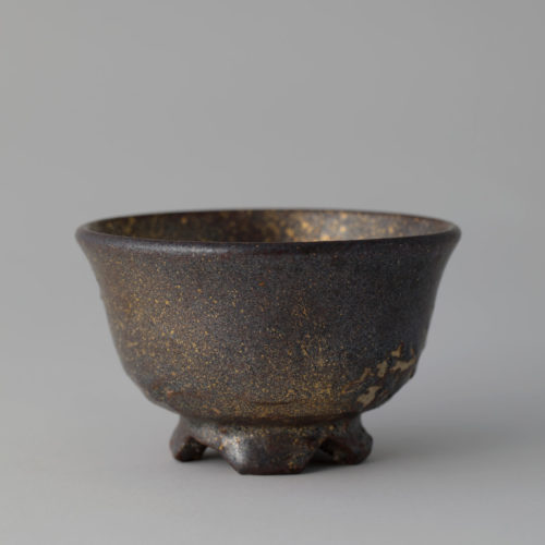 Black-glazed Gold Tea Bowl by Soon-Tak Ji at Joanna Bird Contemporary Collections