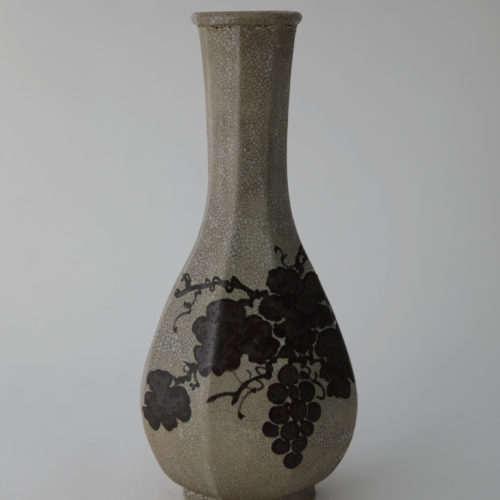 White Porcelain Bottle with Grapevine Design in Underglaze Iron Brown by Soon-Tak Ji at Joanna Bird Contemporary Collections